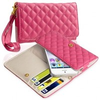 Insten Leather Cell Phone Wallet Case - Retail Packaging - Hot Pink