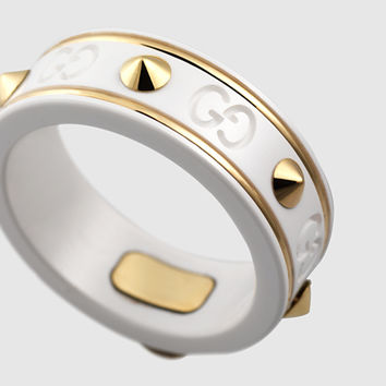 Gucci - icon ring with studs in yellow gold and white zirconia powder 325963J85V58062