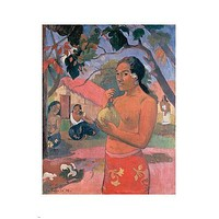 PAUL GAUGUIN fine art poster WOMAN HOLDING A FRUIT 24X36 sensual vibrant