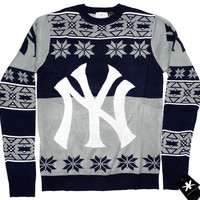 New York Yankees Forever Collectibles KLEW Big Logo Ugly Sweater Sizes S-XXL w/ Priority Shipping