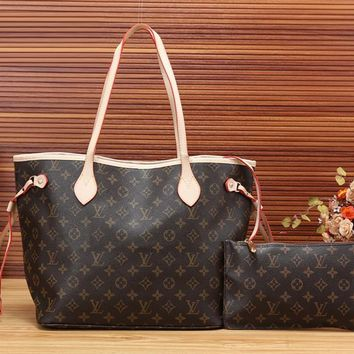 Louis Vuitton LV Leather Fashion Crossbody Shoulder Bag Handbag Satchel Set Two Piece