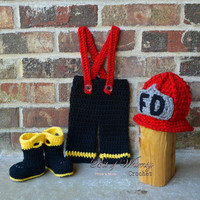 Firefighter hat pants boots set ,Boy Fireman Set ,baby hat ,Baby pants ,shoes ,booties,photography prop 0 3 6 12 months , custom colors