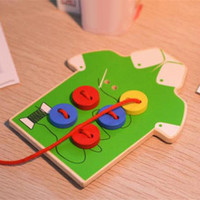 Baby Smart Toys DIY Beads Wooden Lacing Board Toy Sew On a Button Threading Buttons Beads Board Montessori Toy Educational Toy H