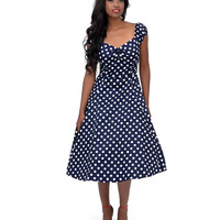 1950s Style Navy & White Dot Dolores Swing Dress