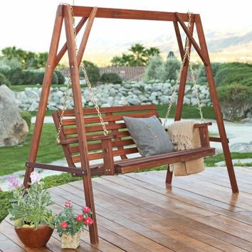 5-Ft Wood Porch Swing with Stand with Oil Stain Finish