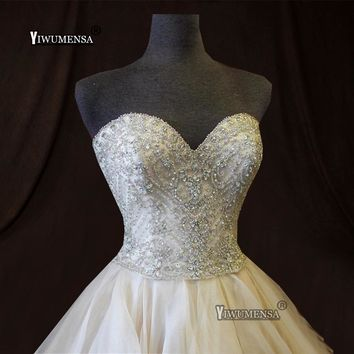 Robe De Mariee Vintage Strapless Wedding Dress 2019 Luxury Crystal Beading Wedding Gown Ruffles Tiered Ivory A line Bridal Gown