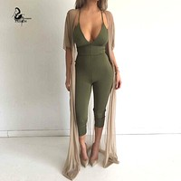 New Women bodycon jumpsuit sleeveless for women jumpsuits sexy club ladies rompers bandage full length  macacao feminino