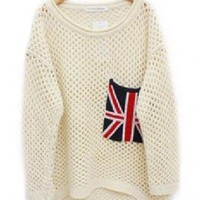 Beige Cut Loose Flag Pullovers Sweater