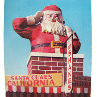"Christmas Year Round - Vintage 1950s Christmas Postcard from Santa Claus California 1957 Roadside Attraction Statue ""By the Sea on 101"""