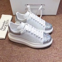 Alexander Mcqueen 2020 Hot Sale Woman lace up low top boots Leisure Sport Shoes Sneakers top quality white silver