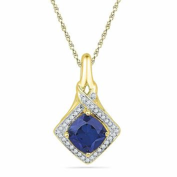 10kt Yellow Gold Women's Round Lab-Created Blue Sapphire Solitaire Pendant 1-5-8 Cttw - FREE Shipping (US/CAN)