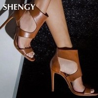 New Women Summer thin high Heels 9cm zipper Pointed Toe Gladiator sandals Office Party wedding Shoes
