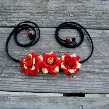 Red Rose Flower Crown Red and Gold Floral Halo Side Flower Crown Hippie Headwrap Festival Boho Headpiece EDM EDC Floral Crown Coachella