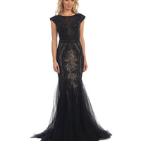 Preorder -  Black & Nude Lace Cap Sleeve Mermaid Long Dress 2016 Prom Dresses