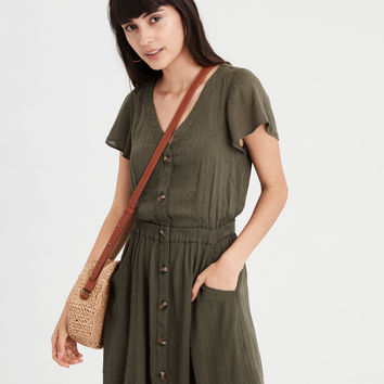 AE Button Front Dress, Olive