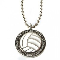 """Volleyball Necklace """"I Can Do All Things Through Christ"""""""