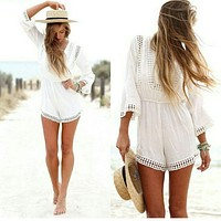 FASHION LONG-SLEEVED WHITE LACE JUMPSUITS
