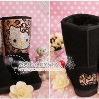 UGG Inspire Leopard Print HELLO KITTY Wool Boots with Crystal  - ZoeCrystal
