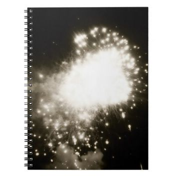 Boom! Black and white fireworks notebook