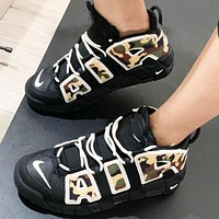 Nike Air Uptempo Fashion Women Men Black Camouflage Personality Running Sport Shoes Sneakers