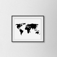 Black and White World Map Art Print. Minimalist Wall Art. Travel Print. Map Art. Modern Home Decor. Office Art.