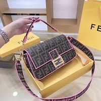 Fendi full printed presbyopia logo canvas baguette shoulder crossbody bag
