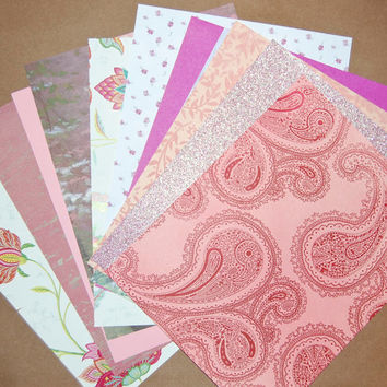 Decorative Paper Pack - Floral Pinks Paper Set of 10 Flocked, Metallic Glittered and Printed Paper Sheets.