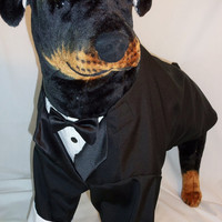 RockinDogs Large Dog Tuxedo Tails. Black or White Tie or Match your wedding colors.