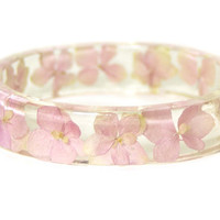 Real Dried Flower and Resin Bangle-Pink Flower Bracelet--Pink Bracelet- -Resin Jewelry-Flower Jewelry