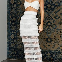Sheer Luck White Sleeveless Spaghetti Strap V Neck Crop Top Cut Out Lace Fringe Bodycon Maxi Bandage Two Piece Dress - Sold Out