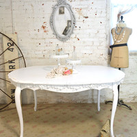 Painted Cottage Chic Shabby White French Dining Table TBL56