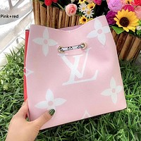 LV ONTHEGO 2019 new color matching one-shoulder mobile shopping bag pink+red