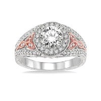 3/8ct tw Diamond Halo Engagement Ring Setting in 14K White and Rose Gold