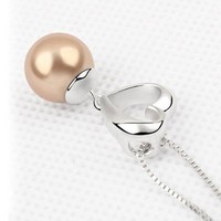 YCJ Women's Rhodium Plated Alloy Pendant Necklace:Pearl and Heart Color Gold