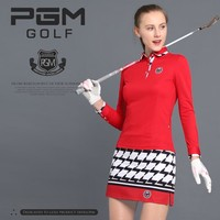 Hot!2018 PGM Golf Clothes Female Summer Soft Slim High Elastic sport Suit Long-sleeved blouse Short plaid skirt for lady