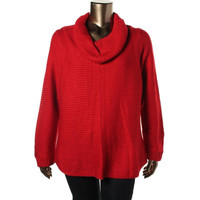 Calvin Klein Womens Plus Knit Long Sleeves Pullover Sweater