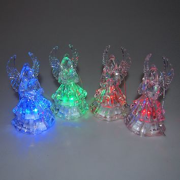 Christmas LED Color Changing Angel Ornaments, 4-Inch, 4-Piece