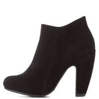 Bamboo Curved Chunky Heel Booties by Charlotte Russe - Black