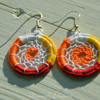 Dream Catcher Earrings - Multicolor Dreamcatcher Earrings - Dangle Earrings - Boho Earrings - Red White Orange