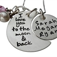 Personalized Hand Stamped I Love You to the Moon and Back Necklace in Sterling Silver