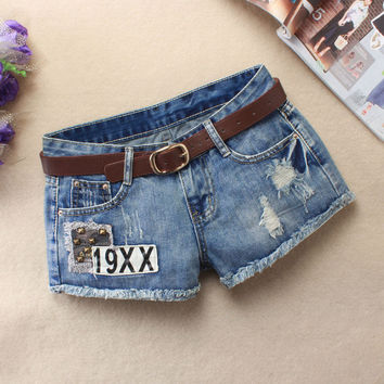 Summer Shorts Korean Rinsed Denim Ripped Holes Jeans [6048826369]
