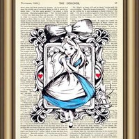 Alice in Wonderland Dictionary wall Art Print Poster Canvas painting Home Decor Pictures Vintage Book page Print wall hanging