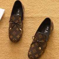 LV new summer flat sole shoes bean - bean shoes lazy shoes