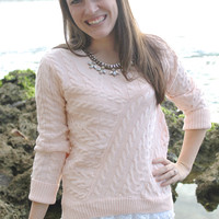 Lace Cable Knit Sweater in Blush
