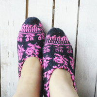 SALE%40...Adult Slippers,Navy-Pink Slippers,Turkish Design Slippers,Winter Slippers
