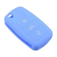 TOFNK Silicone Remote KEY Case Cover Key Fob Skin Covers replacement for Vw Golf Passat Beetle Polo Tiguanvolkswagen GTI (Blue)