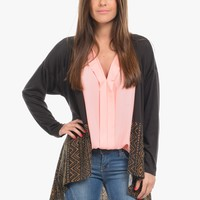 Brown Tribal Trim Open Front Long Sleeve Cardigan | $10.00 | Cheap Trendy Cardigans Chic Discount F