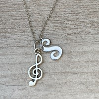 Personalized Music Necklace- Letter Charm