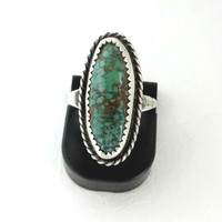 Vintage Navajo Turquoise Sterling Silver Ring For Repair, Size 7.5