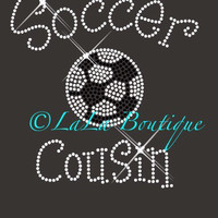 Soccer cousin iron on rhinestone hot fix heat transfer - soccer appliqué - clear, black, heat fix, bling shirt